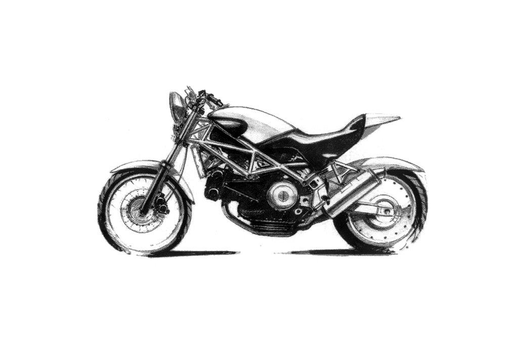 Croqui da primeira Ducati Monster, desenhada pelo designer Miguel Galuzzi
