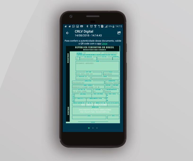 Aplicativo Carteira Digital de Trânsito exibe versão idêntica à impressa diretamente na tela do celular