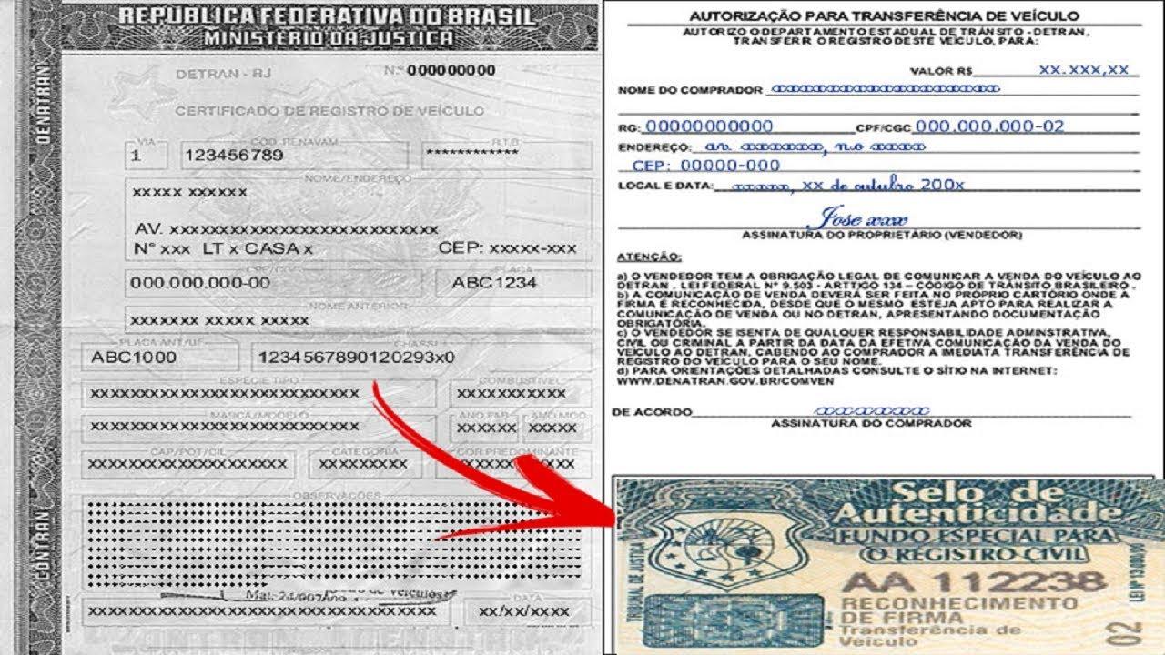 CRV Certificado de Registro do Veículo Documento de compra e venda