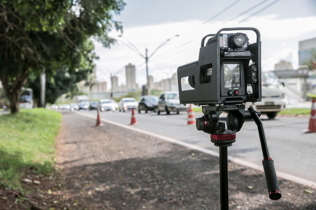 Mobile Police Radar For Traffic Speed Control Installed Near The Presidente Vargas Avenue In Ribeirão Preto To Control The Speed Limit.