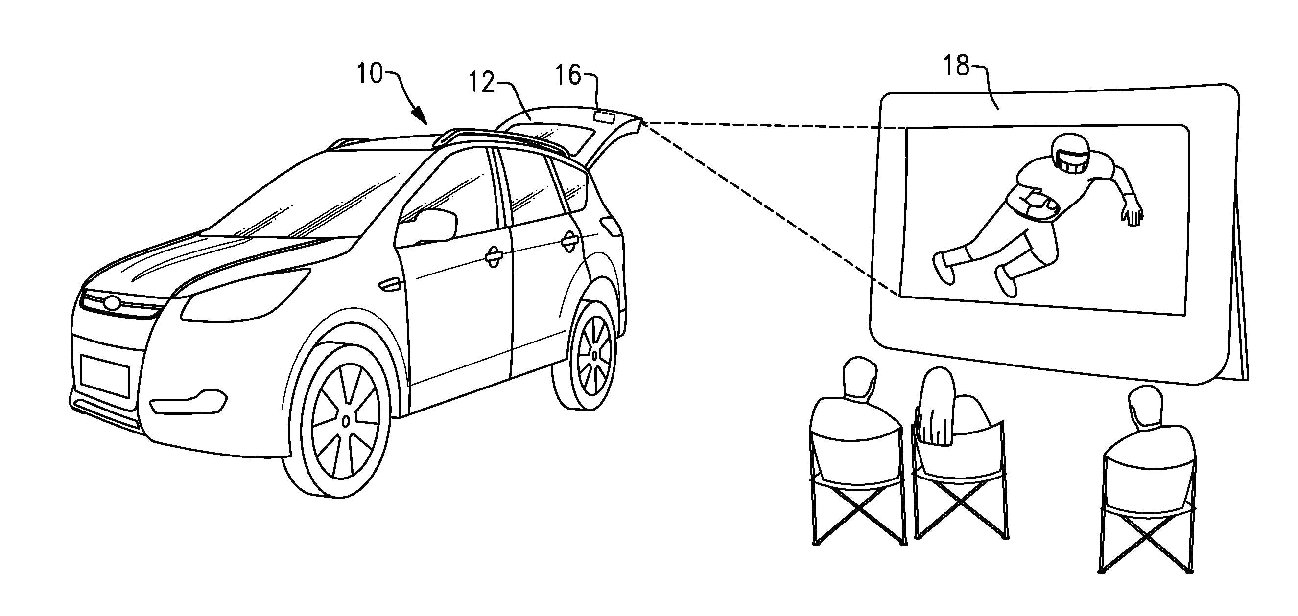 Esboço mostra projetor na tampa do porta-malas de um SUV da Ford