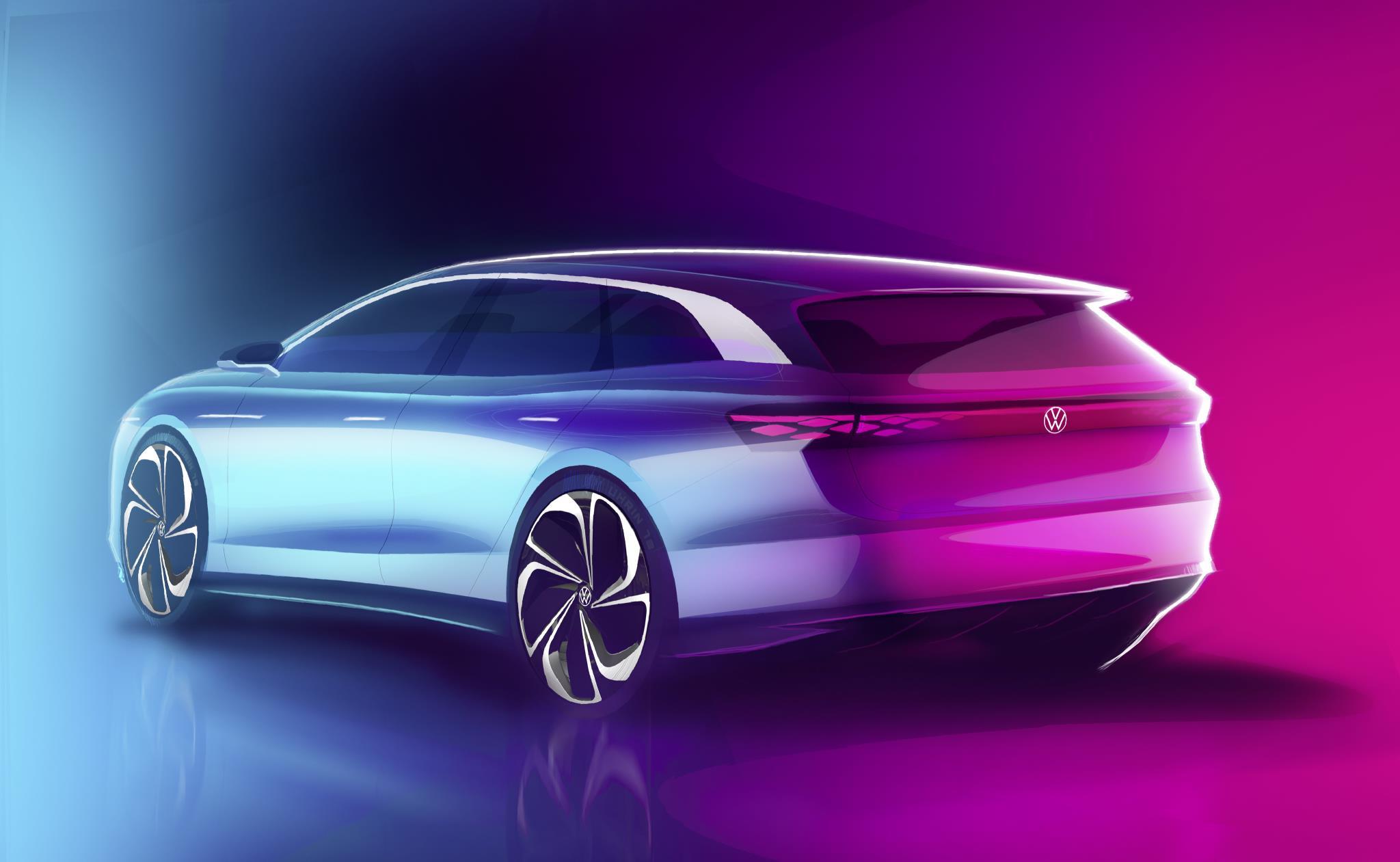 Desenho da Volkswagen Space Vizzion de traseira mostra o filete de LEDs que percorre a tampa do porta-malas