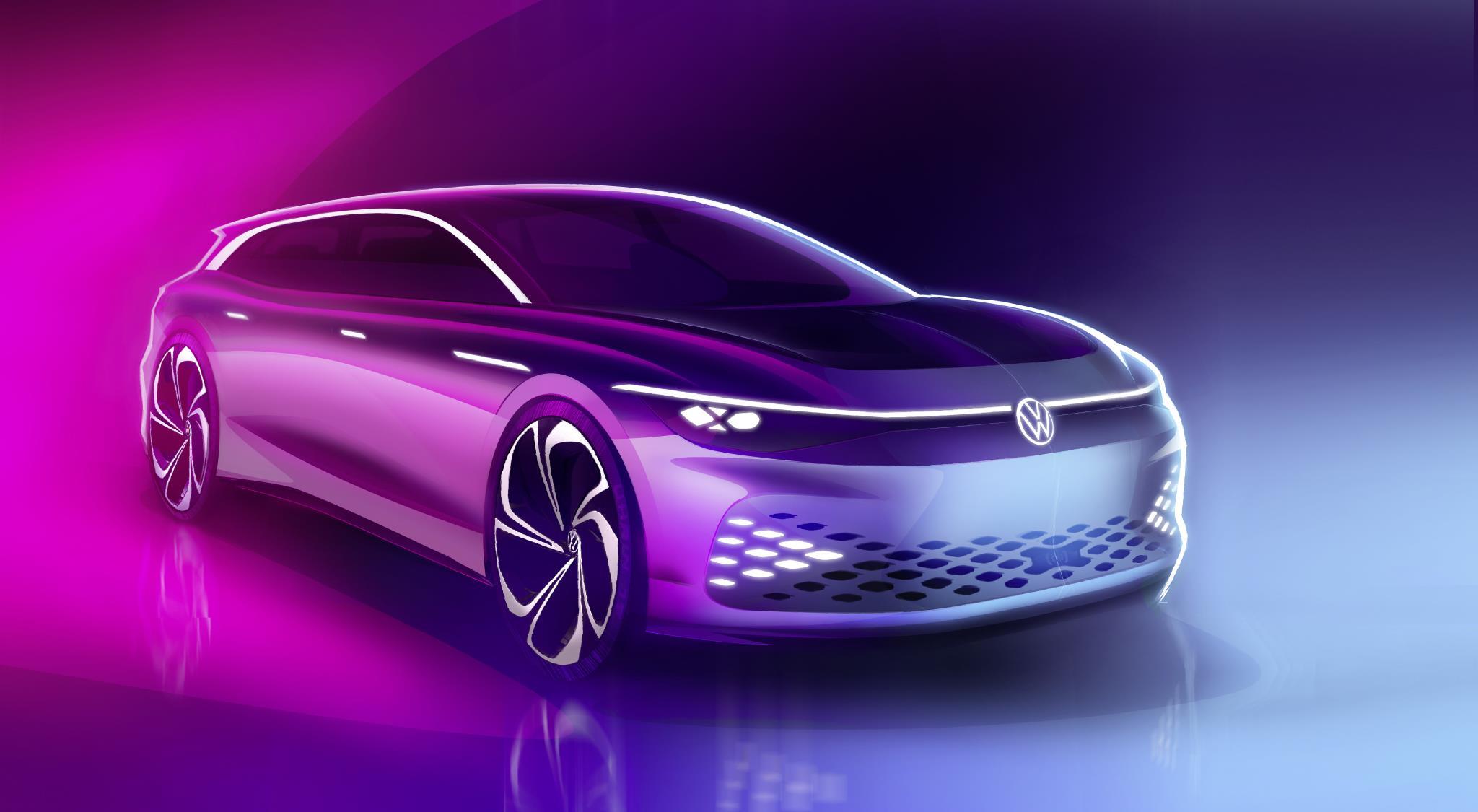 Desenho do conceito de station wagon traz os traços da perua elétrica VW