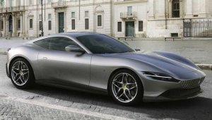 Ferrari Roma prata vista de frente