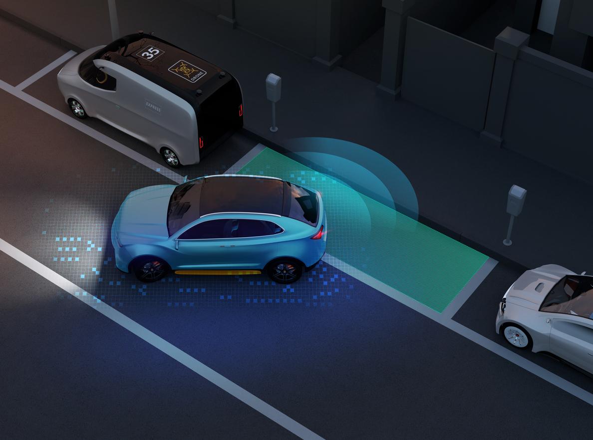 Imagem reproduz um carro estacionando em uma vaga perpendicular