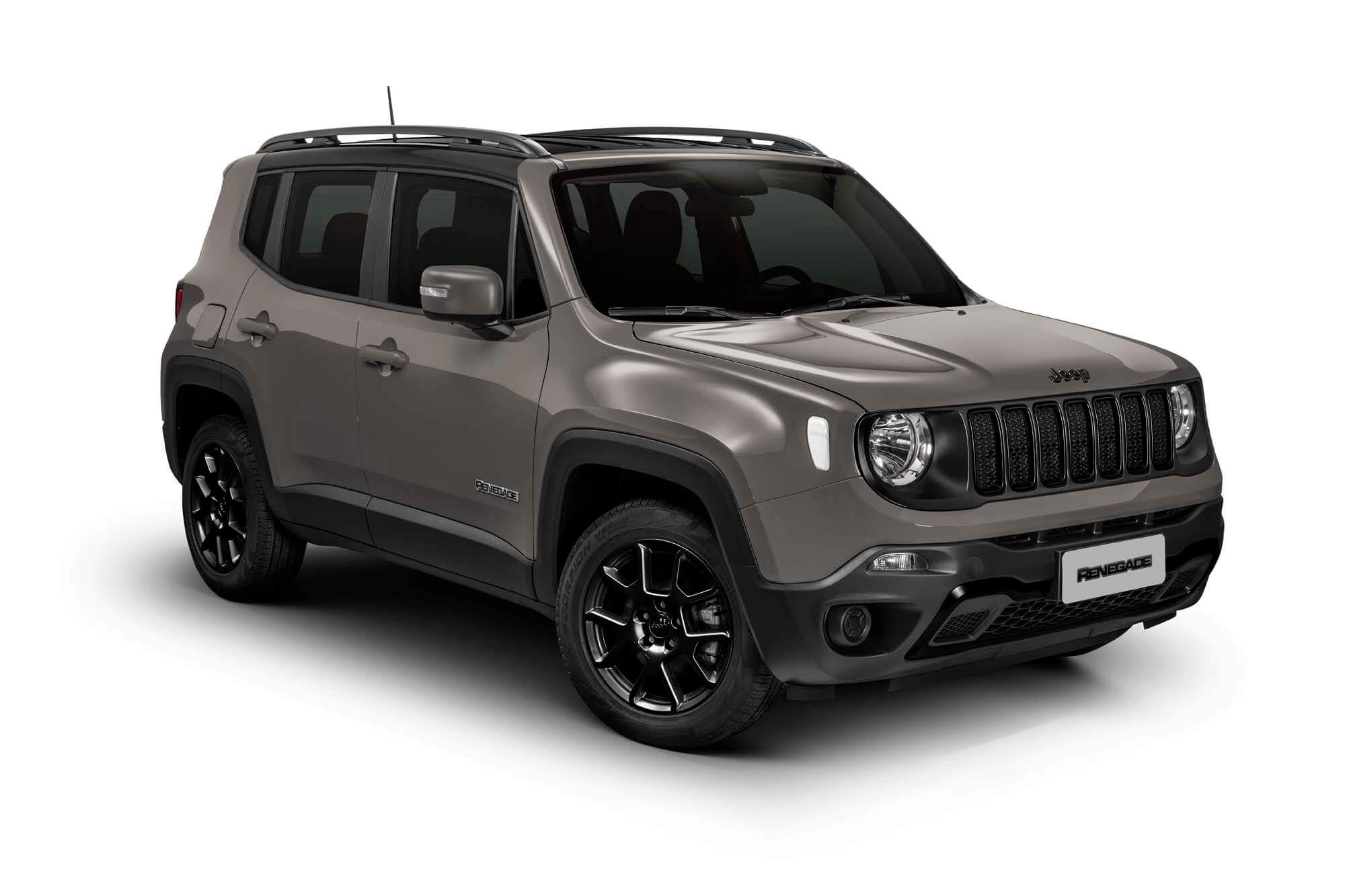 Jeep Renegade Sport na versão Night Eagle com pintura cinza e rodas escurecidas