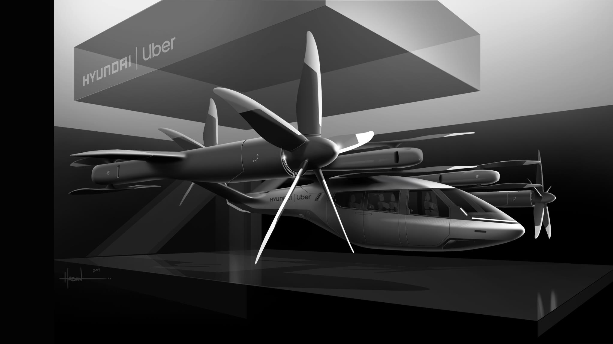 Projeção mostra o drone Hyundai Urban Air Mobility em uma plataforma de pouso em parceria com a Uber