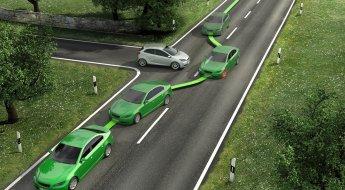 Projeção mostra omo Funciona O Controle De Estabilidade Esp Da Bosch, com um carro vindo em uma estrada principal e desviando repentinamente d eum outro carro que avançou o cruzamento