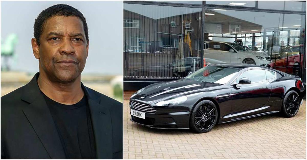 Imagem mostra Denzel Washington com seu Aston Martin Dbs