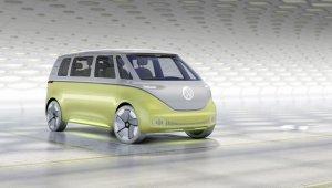 Volkswagen Id. Buzz Concept lembra uma Kombi Futurista com frente em curva e pintura saia e blusa branca em cima e amarela clara em baixo