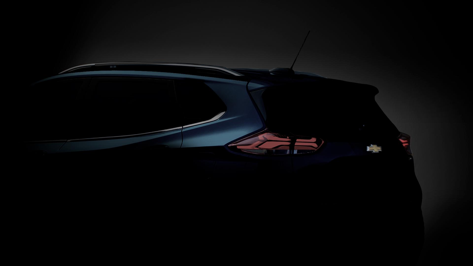 Teaser mostra a silhueta de parte do teto e da terceira coluna do Chevrolet Tracker 2021