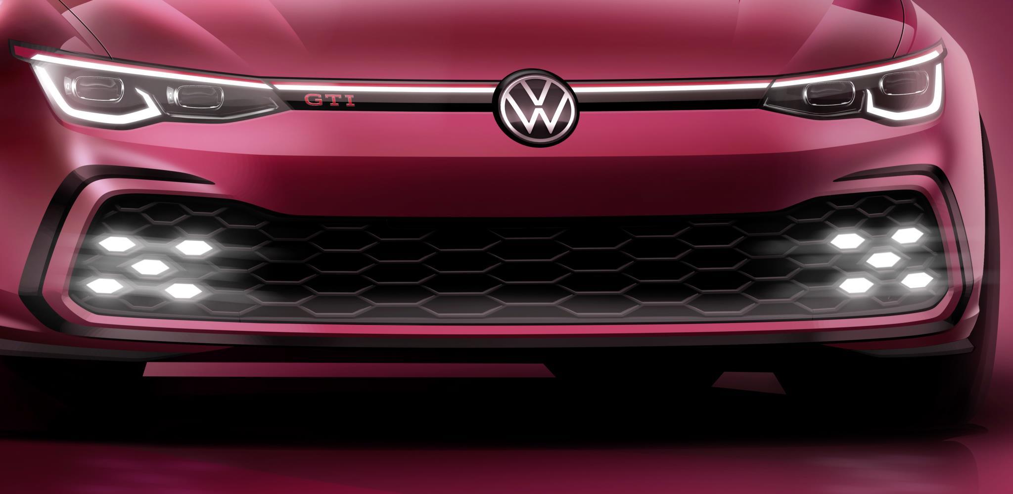 Teaser mostra filete de leds ligando os dois faróis afilados do Golf GTI vermelho e nichos de leds em forma d losango nas entradas de ar inferiores