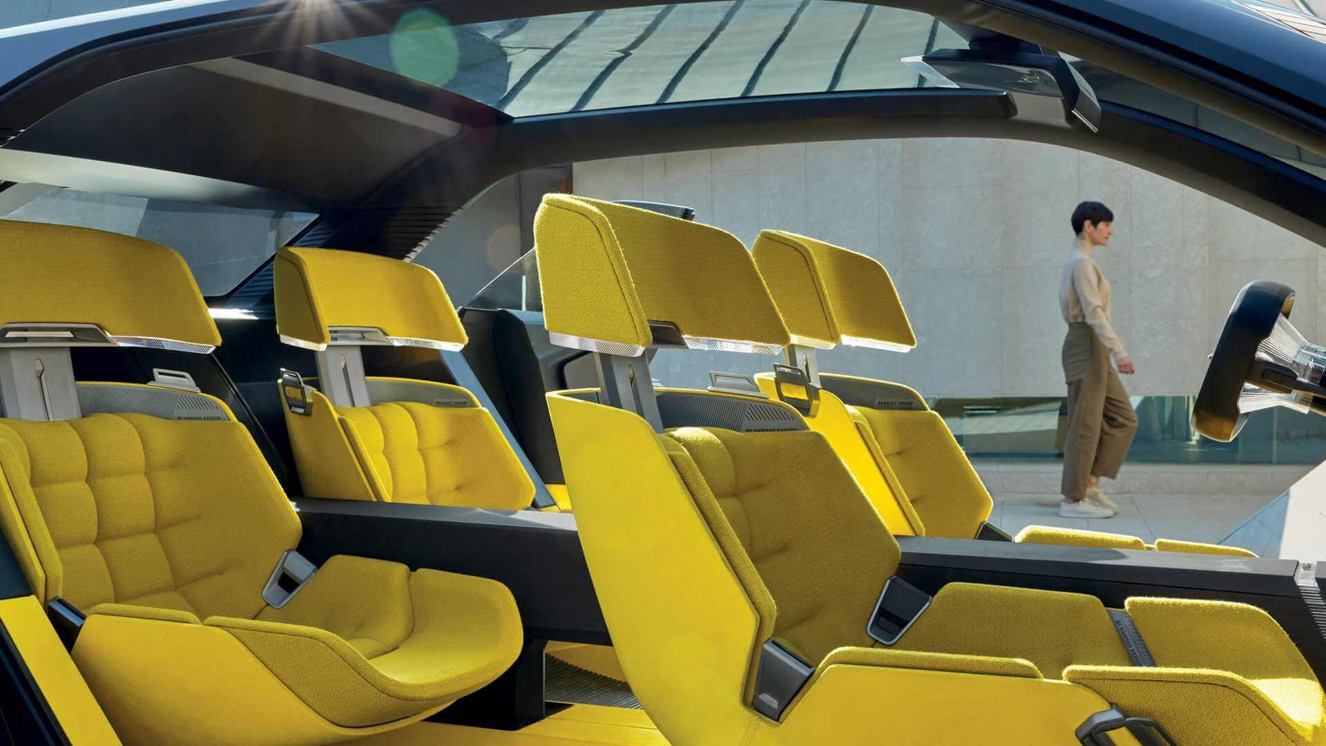 Interior doconceito de carro expansível é modular e feito de materiais recicláveis