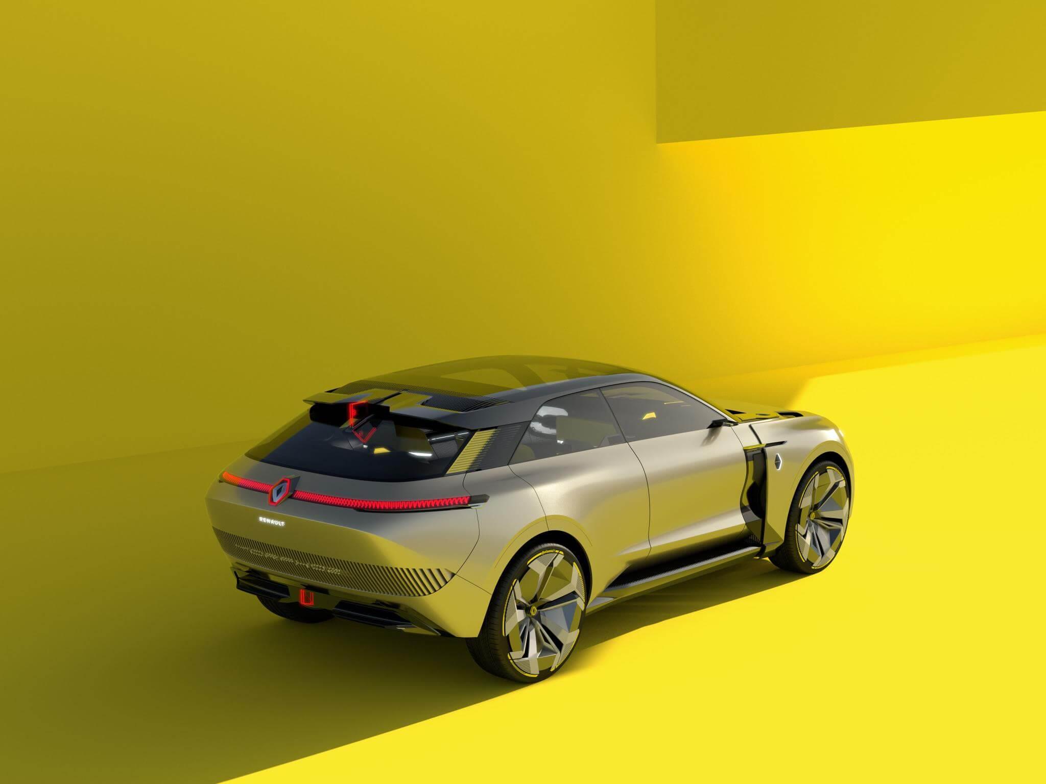 Renault Morphozde traseira visto de alto em sua configuração maior no fundo amarelo
