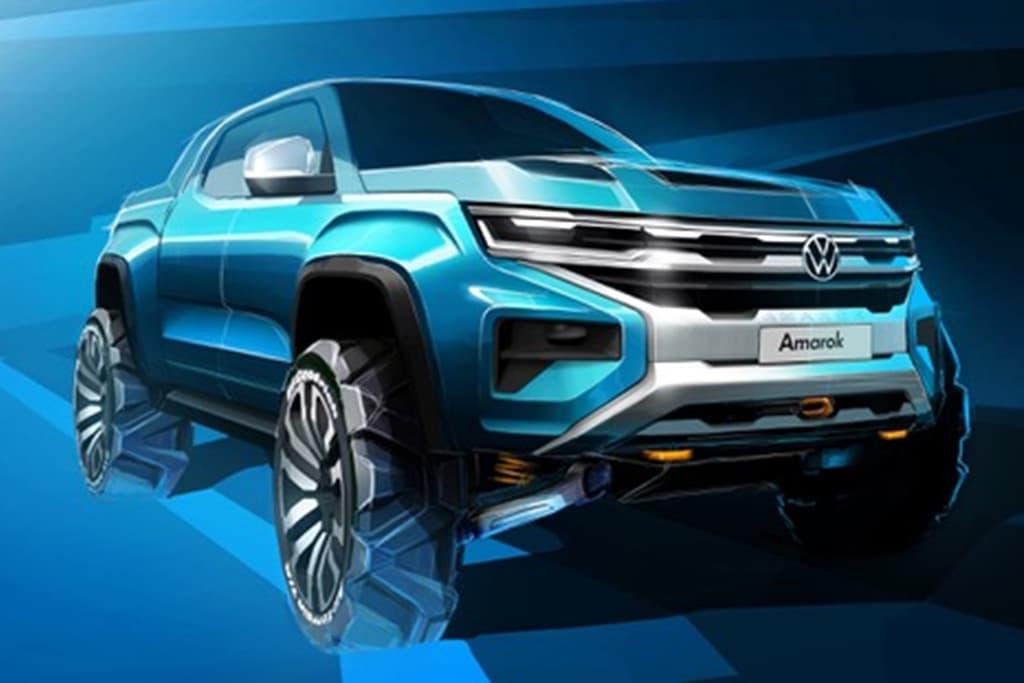 Esboço mostra a nova Volkswagen Amarok com traços mais retlíneos e grade integrada aos faróis