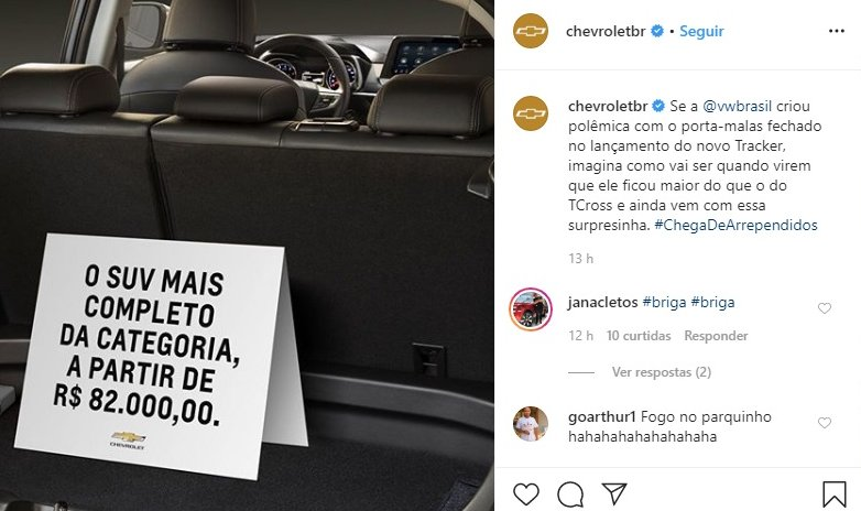Instagram da Chevrolet Brasil respondeu a provocação
