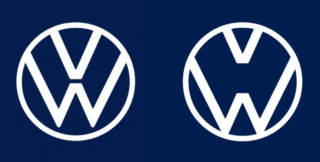 Volkswagen faz brincadeira com sua marca em tempo de coronavírus: deo lado esquerdo o símbolo ormal, do outro, o meio entre o vê e o W como se estivesse com uma máscara