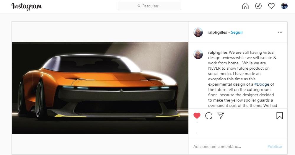 Postagem do designer-chefe da FCA no Instagram