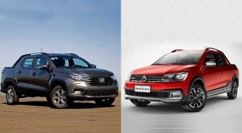 Montagem traz uma Fiat Strada cinza metálica de frente e uma Volkswagen Saveiro vermelha de frente