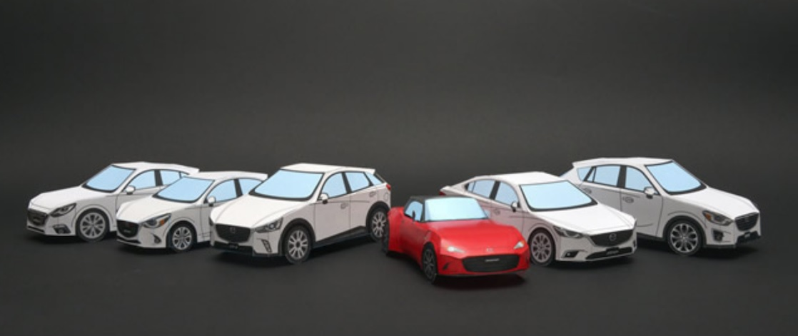 Mazda de papel: você pode fazer o download, montar e colorir