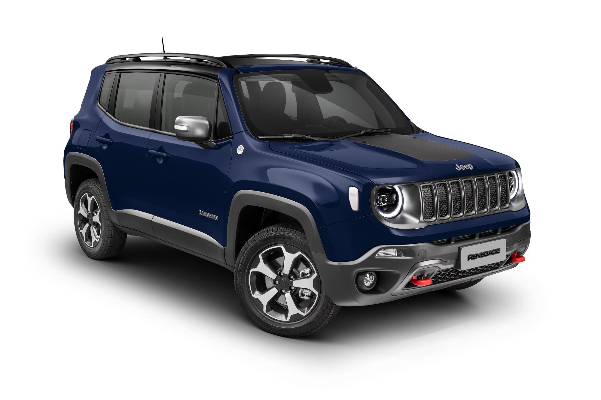 Jeep Renegade Trailhawk Azul em foto de estúdio em fundo branco