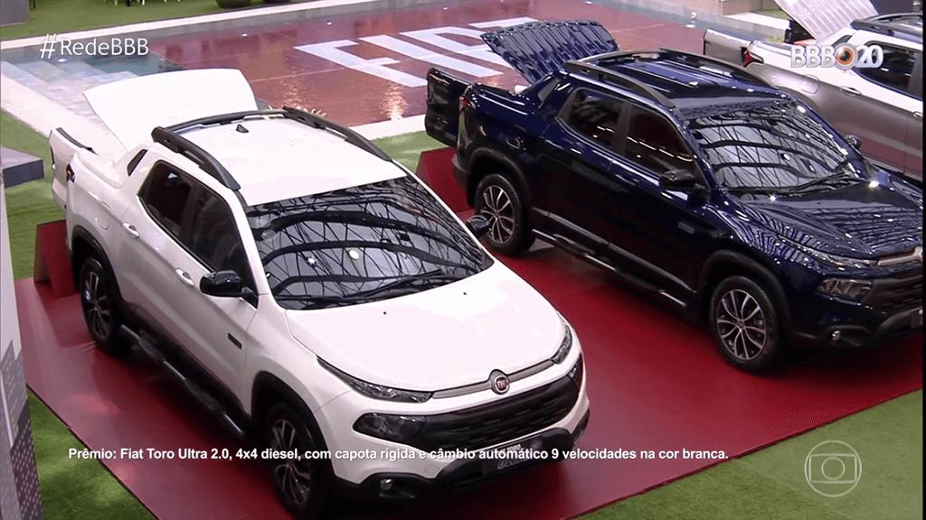 A Fiat Toro Ultra participa de prova e está entre as motos e carros do BBB20