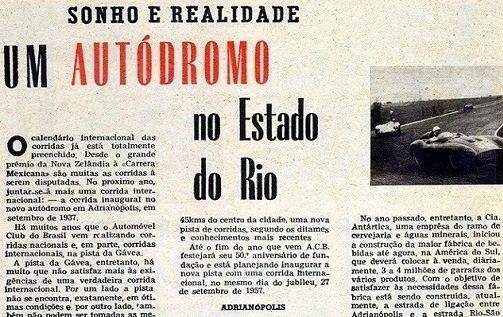Autódromo de Nova Iguaçu - Reprodução da revista Carros à Vista no site Bandeira Quadriculada