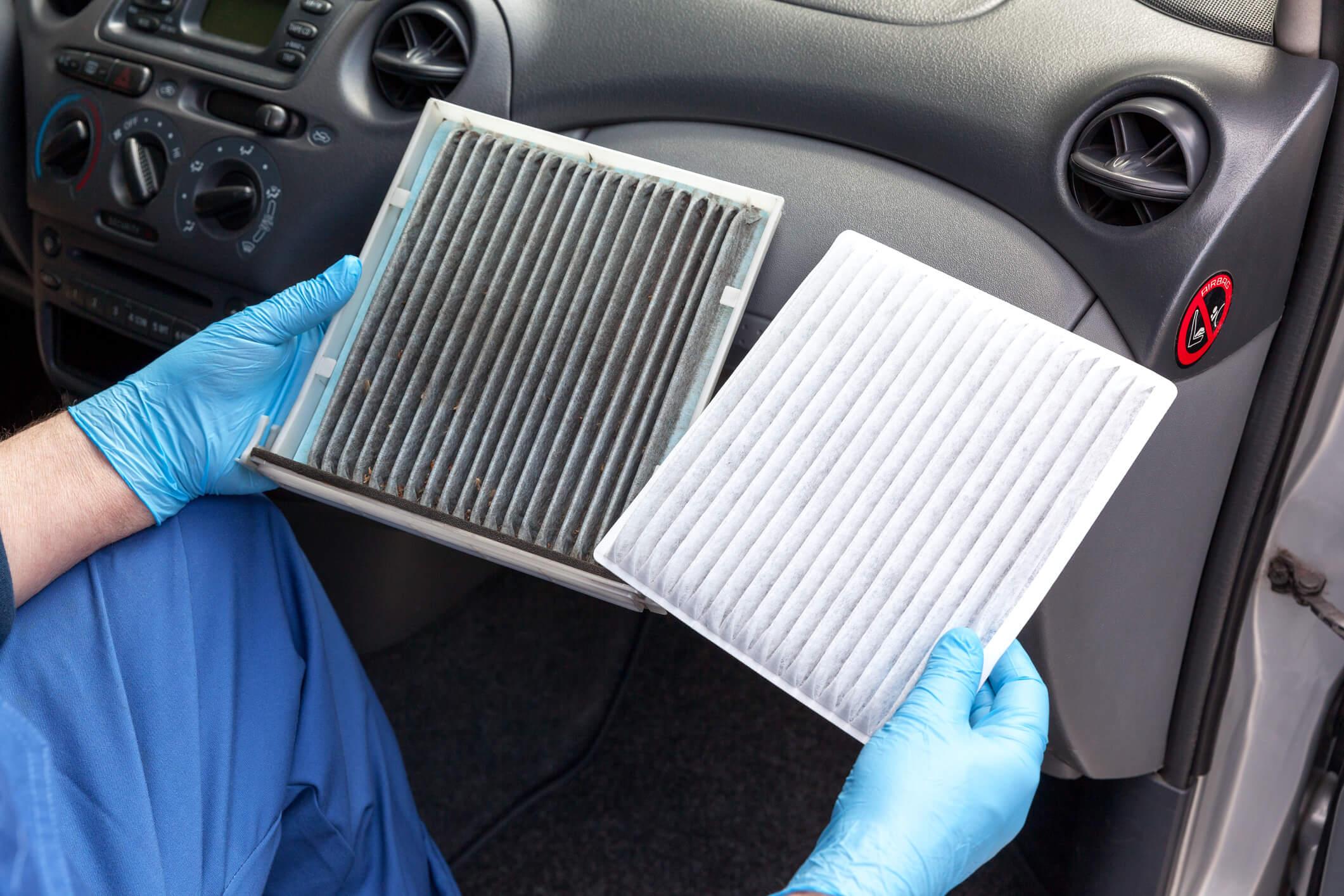 Filtro de ar-condicionado sujo e limpo