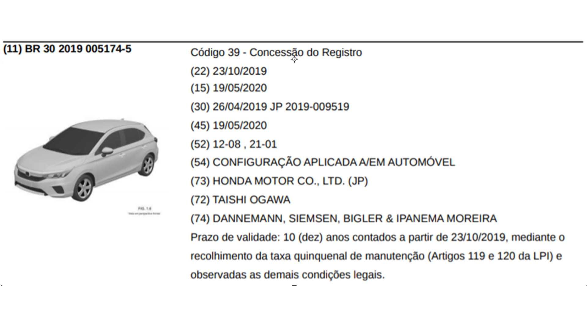 Honda City hatch já tem registro no INPI (Instituto Nacional da Propriedade Industrial)