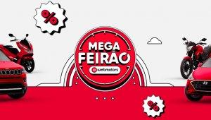 Mega Feirão Webmotors: imagem promocional com ilustração de dois carros vermelhos e o logo do Mega Feirão